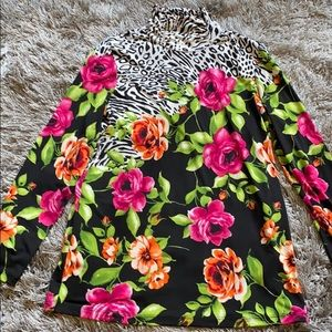 Susan Graver long sleeve animal print floral top
